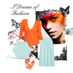 """Dream of tangerine and aquamarine"" by annawirejewelry on Polyvore"