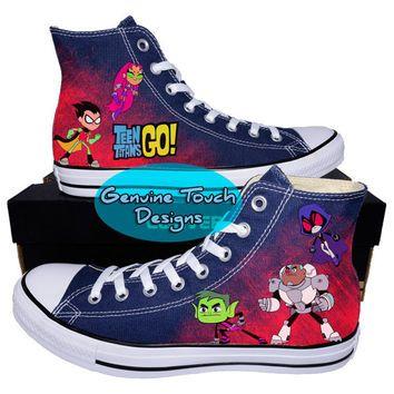 Custom Converse, Teen Titans Go!, Robin, Starfire, Cyborg, Raven, Beast Boy,  Custom chucks, painted shoes, personalized converse hi tops