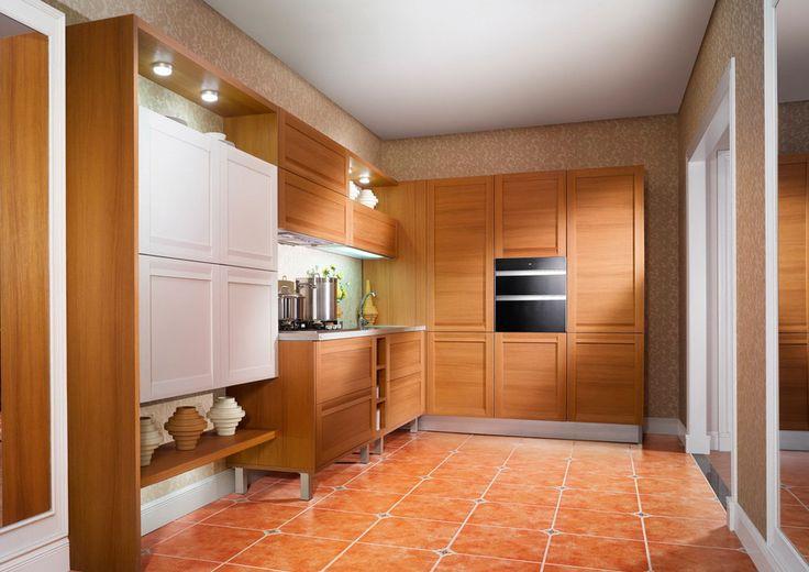 Casabella | Cocina en PVC imitación madera y cajones blancos. Encuéntralo en: Casabella, Calle 109 Nº 14B–16 · Teléfono: +57 1 466 0015 · Bogotá, Colombia
