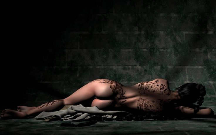Tattoo Girl On the Ground Wallpaper