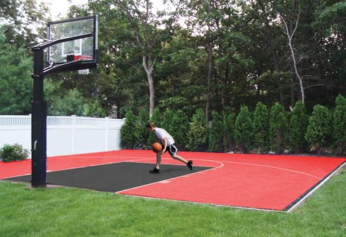 36 best images about backyard basketball courts on for Homemade basketball court