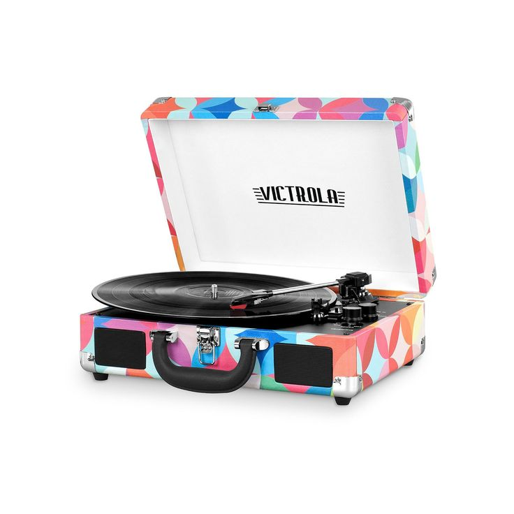Victrola Patterned Suitcase Record Player with Bluetooth, Multicolor