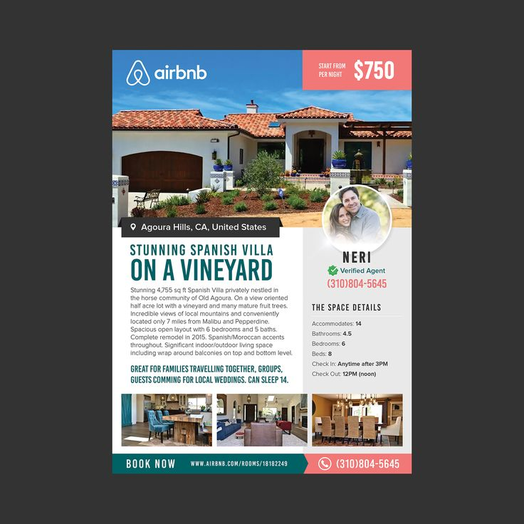 Apartment For Rent Flyer: Beautiful AirBnB Rental On A Vineyard Flyer Design