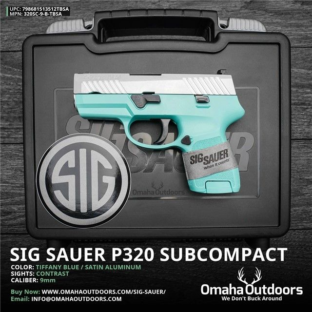 Sig Sauer P320 Subcompact Tiffany Blue 9mm 12 RDS 3.6″ Handgun - Omaha Outdoors