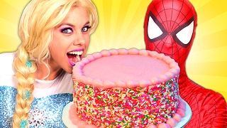 Is Frozen Elsa Ok?! w/ Spiderman Maleficent Pink Spidergirl Joker & Candy! Funny Superhero Video :) - YouTube