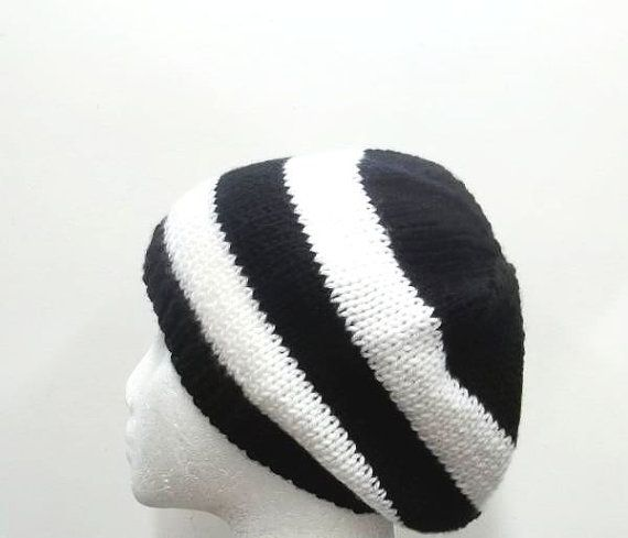 Handmade beanie black and white stripes hat  size  by CaboDesigns, $26.00