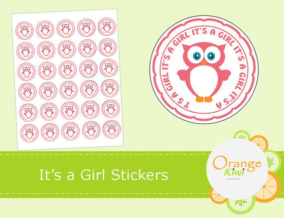 It's a Girl Stickers  Baby Shower Stickers  by OrangeKiwiDesign