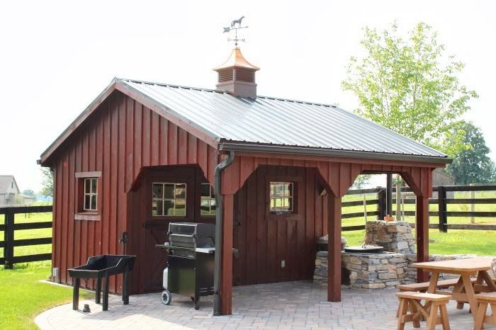 Custom shed with board and batten siding, porch, and cupola http://www.backyardunlimited.com/custom-storage-sheds