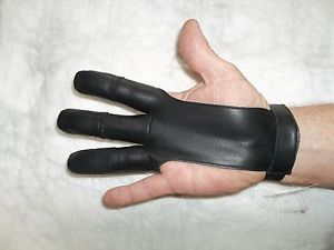 """Traditional Leather""""Goat skin"""" Archery glove-Damascus,Black $13.99 Delivered-EXL"""