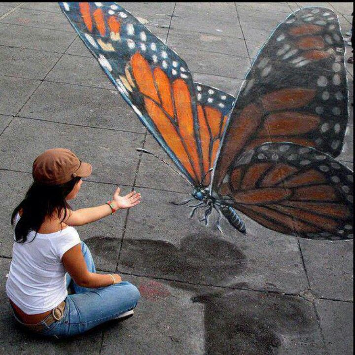 3-D chalk art i would not put out my hand for a bug that big, crazy lady