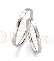 Βέρες γάμου λευκόχρυσες με διαμάντι breuning 4307-4308