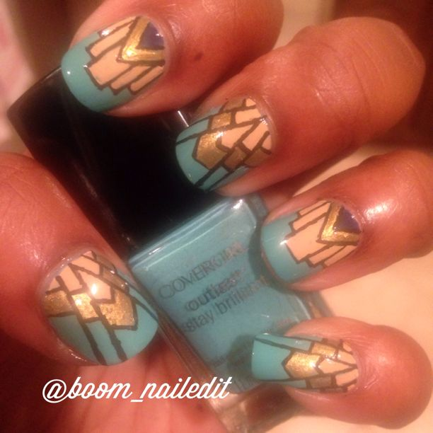 Art Deco nails inspired by a mani I saw by 10 blank canvases....#nailart