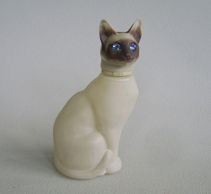 Vintage Siamese Cat Rhinestone Perfume Bottle Avon