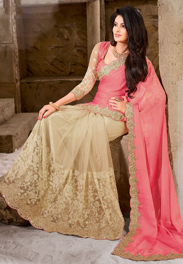 Half N Half Chiffon and Net Saree in Pink and Beige: SGA6955