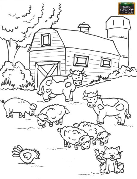 Teach your students about different farm animals! Free teaching tool -  printable coloring page for kids. http://farmtimeclassroom.com/