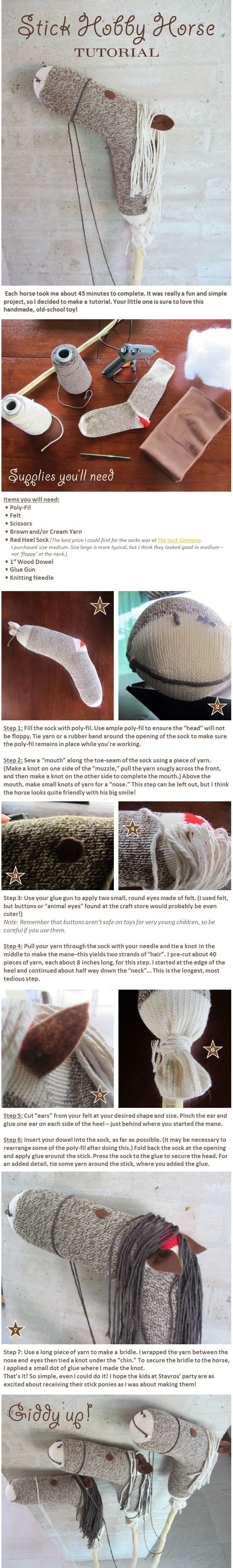 Hobby stick horse activity tutorial. Toy Story or western birthday party theme for a cowboy or cowgirl.: