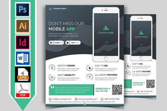 Mobile App Promotional Flyer Vol-02 by Imagine Design Studio