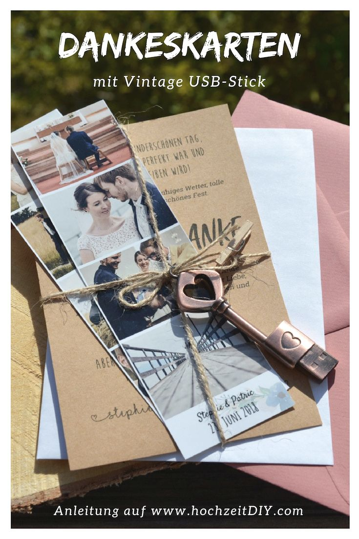Thank you cards with photo stripes and vintage USB stick