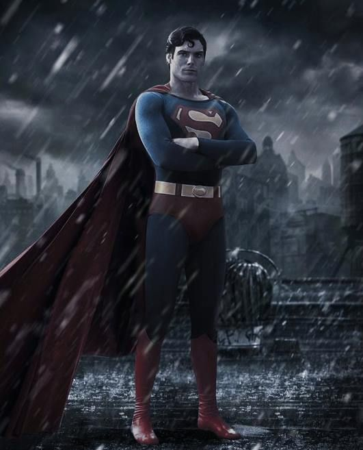 dcdatabase:  Fan Made image of the new Batman v Superman poster with Christopher Reeves in place of Henry Cavill! Art by Unknown
