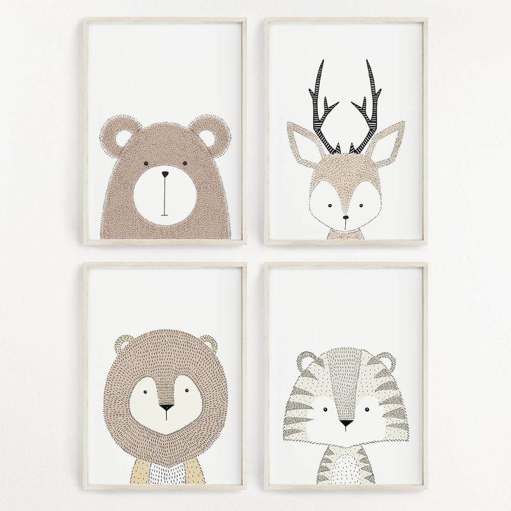 Babyzimmer Bilder Baby Tiere Kunstdruck Set Kinderzimmer Deko Poster Wandbild | eBay  #Kinderzimmer #wandgestaltung