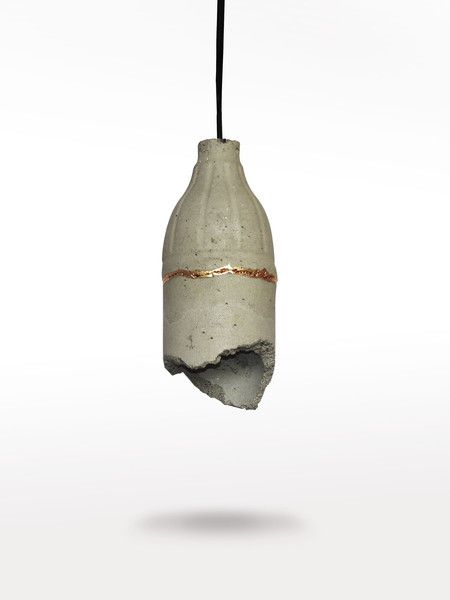 Ceiling Lights – Concrete lamp with golden outline – a unique product by LumiLamp on DaWanda