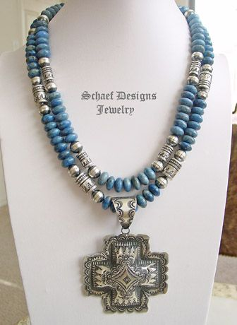 Schaef Designs Denim Lapis & Sterling Silver Southwestern Necklaces with Vince Platero Cross Pendant
