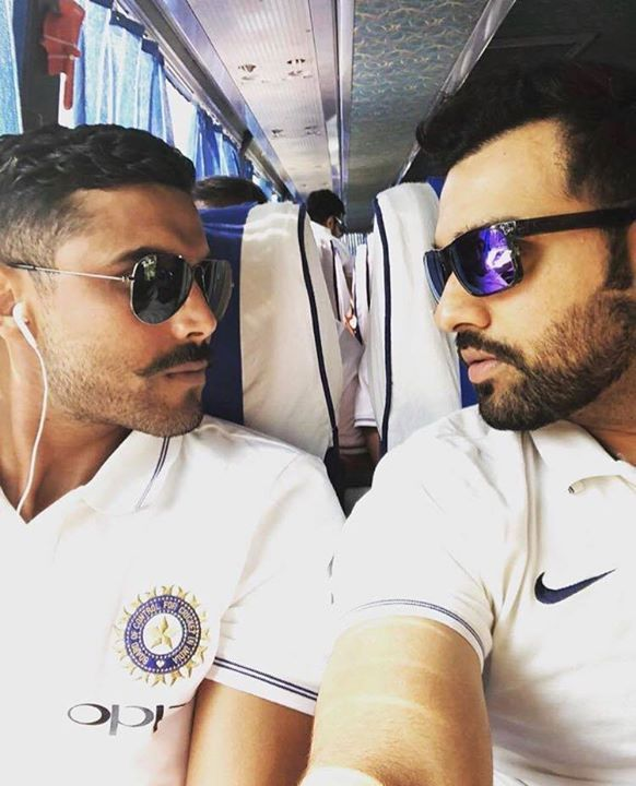 Ravindra Jadeja and Rohit Sharma get their game face on as Team India travels to Nagpur. - http://ift.tt/1ZZ3e4d