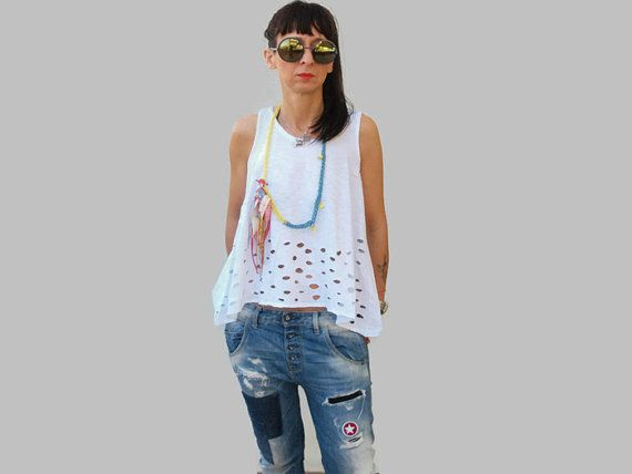 White open back cotton summer top /  lifebelt by PepperFashion