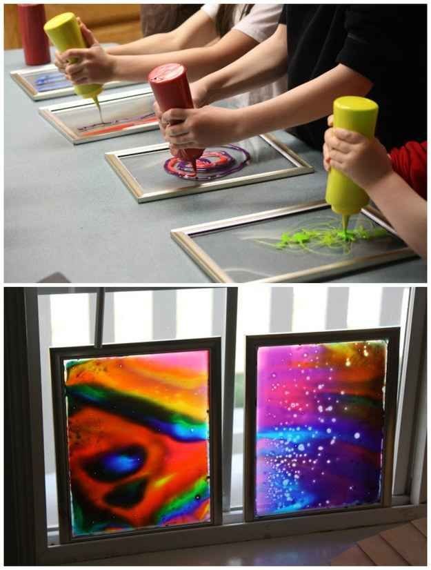 Dollar-store frames are perfect for making window art with glue and food coloring.