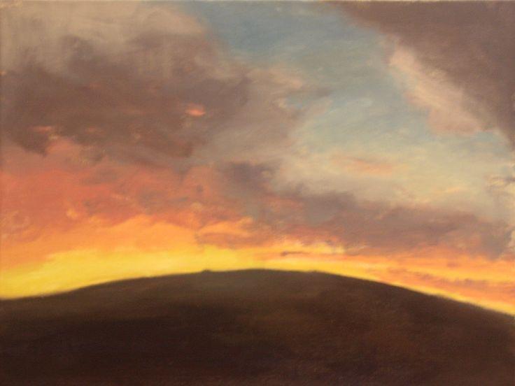 Alex L. King - Sunset Composition 4 #painting #oil #sunset#landscape #hill #clouds