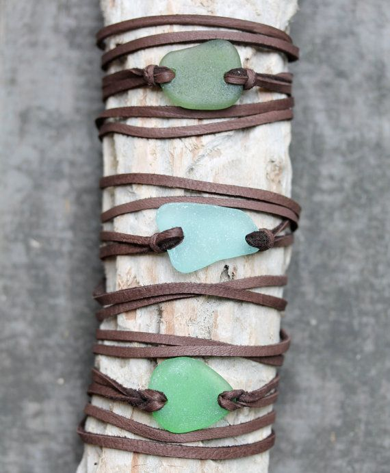 Sea Glass & Leather Wrap Bracelet or Necklace by TheRubbishRevival
