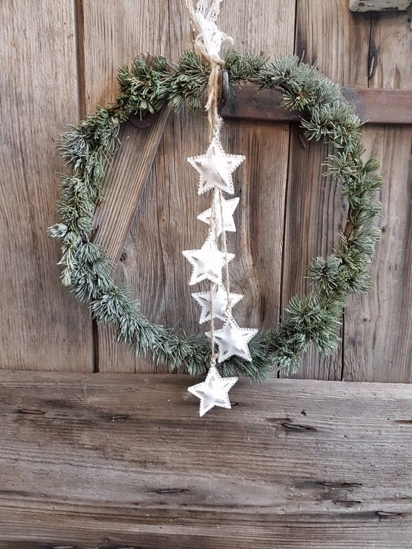 Cedar door wreath winter wreath heart small swedenhaus winter decoration front door shabby   – Schöne Winterdeko