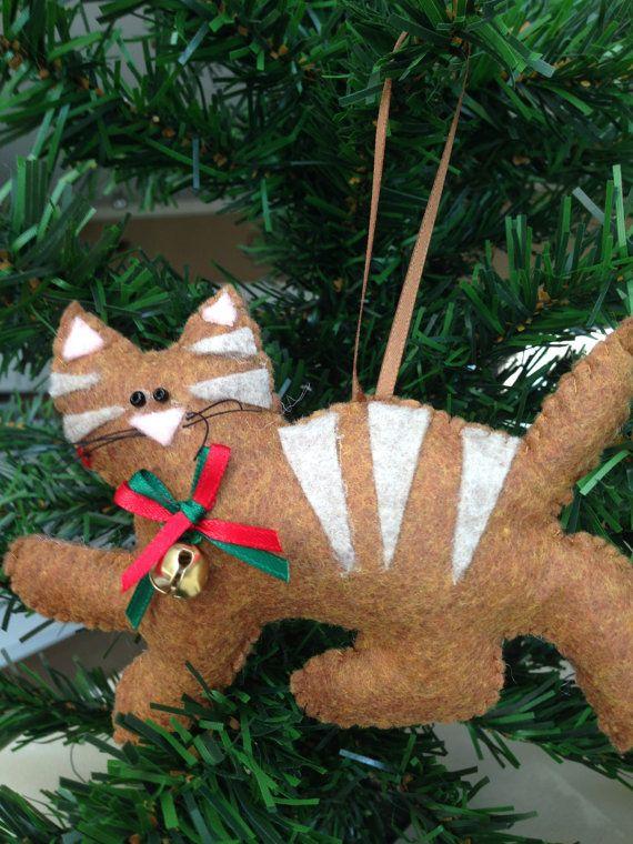 Cat  25 Felt Christmas Ornament Kitten Unique Christmas $10.00