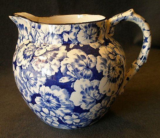"cobalt blue line stoneware | Buffalo Pottery ""Geranium"" Pattern Jug/Pitcher in Cobalt Blue from ..."
