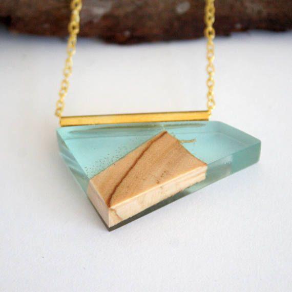 Resin Wood Jewellery Geometric Bird Pendant Unisex Boho Bohemian Style Handmade Necklace Festival Chic Accessory Gift