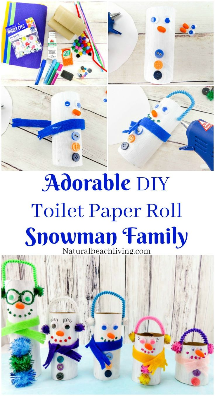 This is the cutest Snowman Family, DIY Toilet Paper Roll Snowman Crafts for Kids that are perfect for Winter, Christmas Craft, Snowman theme, Adorable