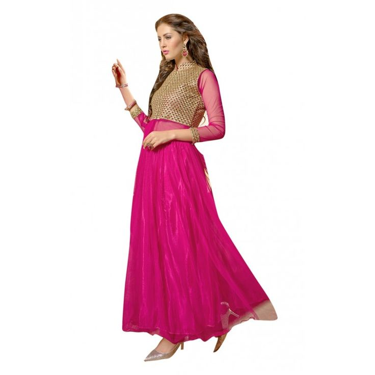 Triveni Magenta Colored Embroidered Semistitched Net Gown available at a 25% off at #Celebstall  #partywear #weddingseason #sale #discount #onlineshopping #gown #gownsuit  http://goo.gl/ez5ezN