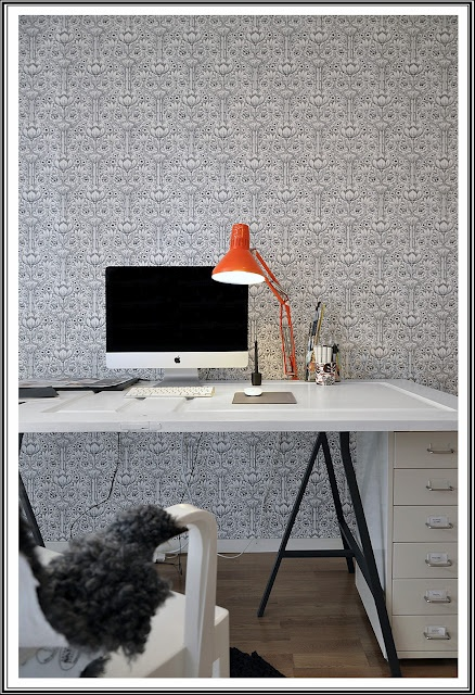 My office at home, photo by:  therese romell: Antik dörr som skrivbord