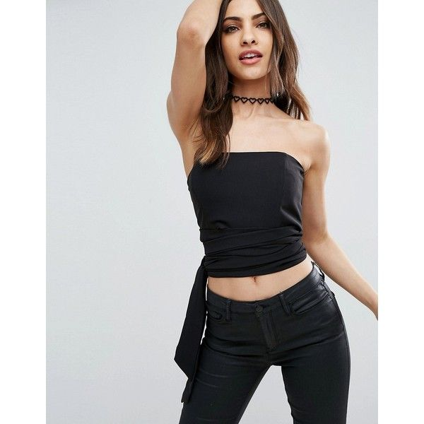 ASOS Corset Bandeau Top with Tie Detail (€38) ❤ liked on Polyvore featuring tops, black, woven top, corset tops, zip top, bandeau tops and zipper crop top