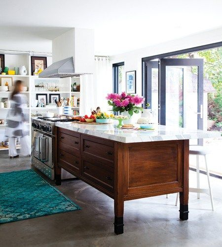 island inspiration -- rich wood in a furniture style with a light top: houseandhome-kitchen-emilynorris-jn12