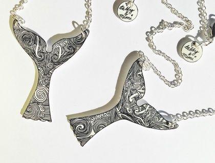 Hand Drawn Maori Whale Tail Tattoo design Necklace