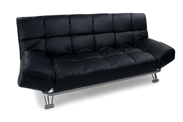Canapé convertible cuir noir 3 places Manhattan - Zoom