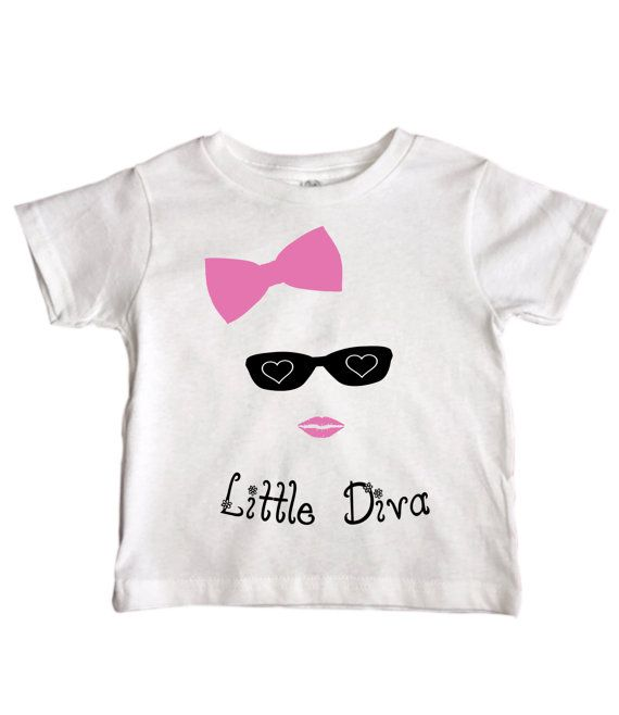 """Cute Girls """" Little Diva """" Toddler Shirts - Fashion Bow Boutique - Famous Princess - Funny Kids Clothing - Pink Option - 216"""