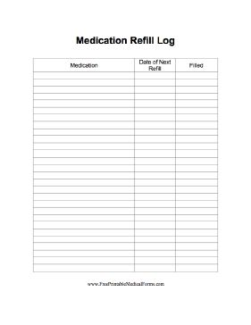 Remember when medications are due to be refilled by using this convenient log. Free to download and print