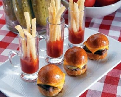 Throw The Ultimate Gourmet Burger Bash. Love the idea for the French Fries, great presentation idea!