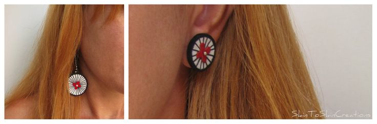 SkinToSkinCreations- Penny farthing leather earrings