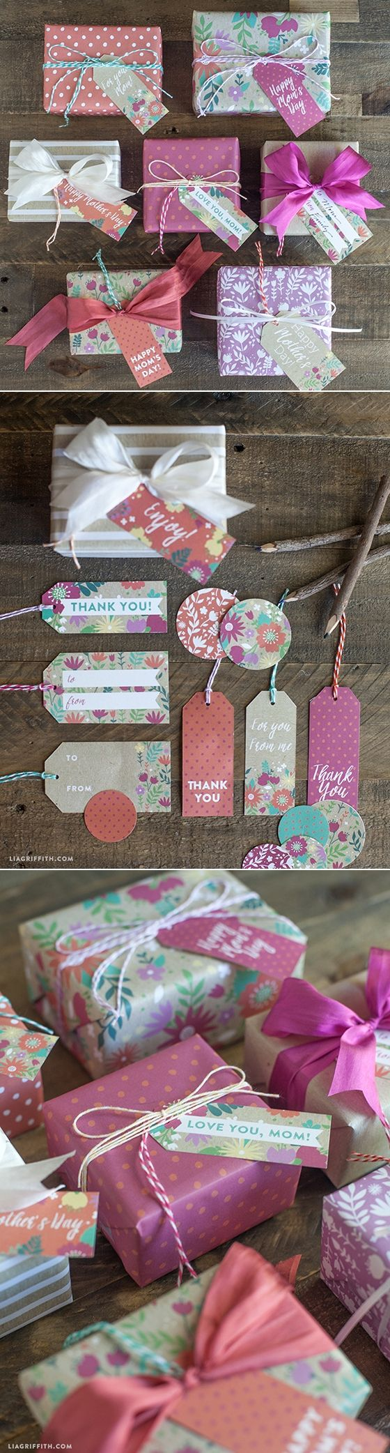 #mothersday #giftwrap #gifttags #printable at www.LiaGriffith.com
