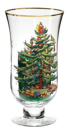 Spode Christmas Tree Glass Hurricane with Pillar Candle