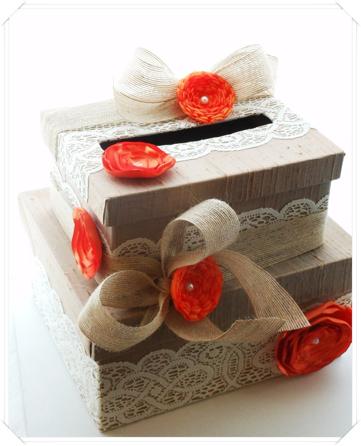 Orange Burlap and Lace Wedding Card Box Double by ModernShabby- but with light and navy blue flowers?
