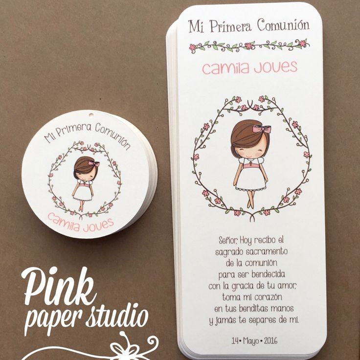 First Communion Favor Cards /Bookmark/ by PinkPaperStudioMiami